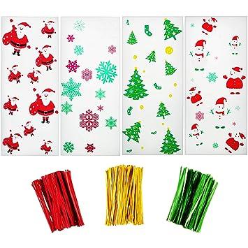 200 Piezas de Bolsas de Dulces de Celofán de Navidad Bolsa Transparente con Patrones de Copo de Nieve Monigote de Nieve Papá Noel Arboles de Navidad y ...