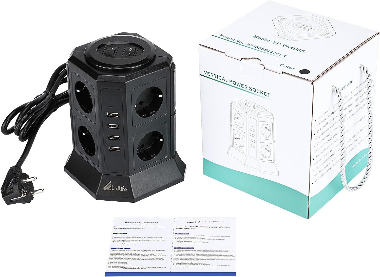 noir 8 prises Avec rallonge de 2 m Lidlife Multiprise verticale Protection contre les /éclats Protection contre les surtensions Prise multiprise avec 4 prises USB