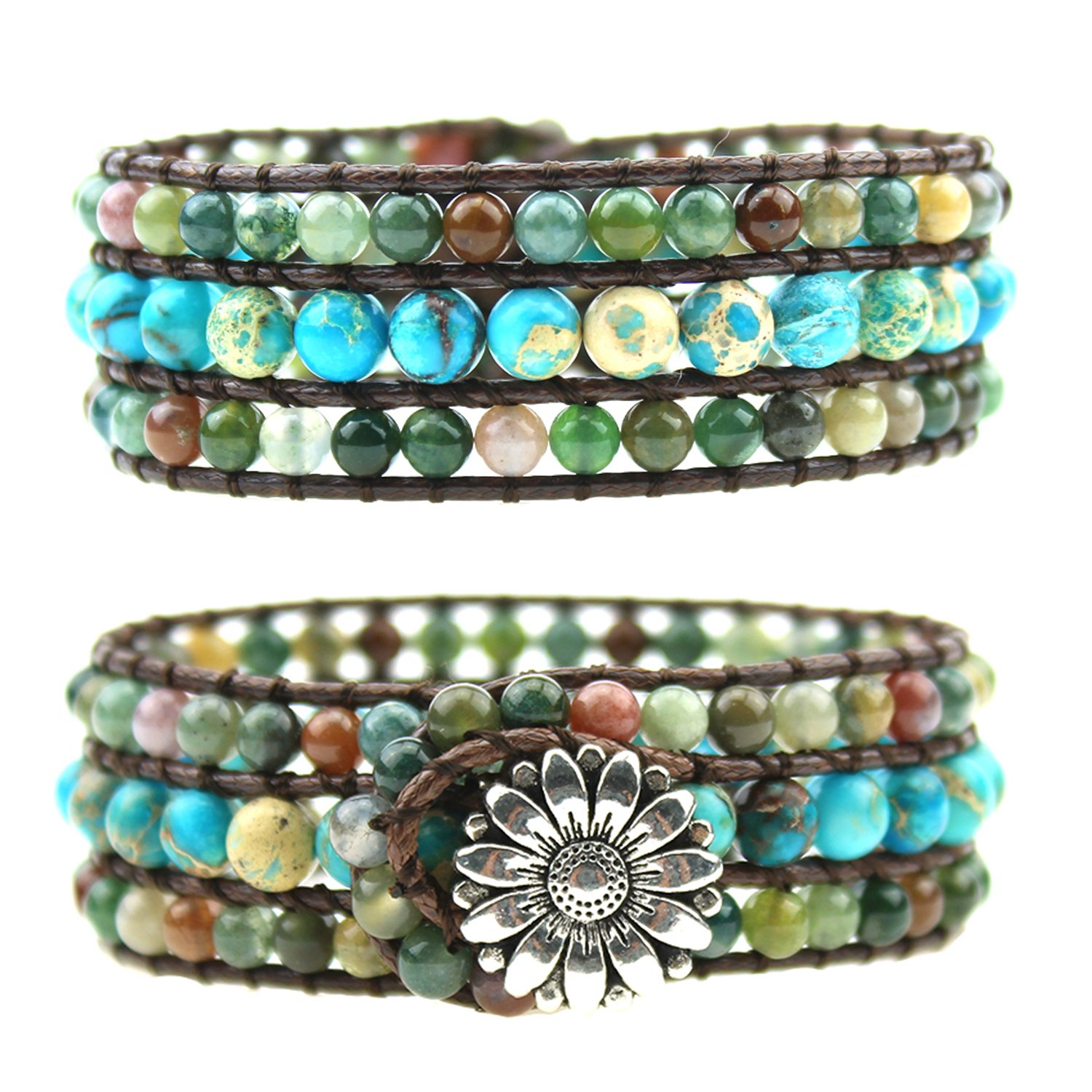 IUNIQUEEN New Arrival Natural India Agate Imperial Jasper Bead Wrap Statement Bracelet for Women(India Agate&King Stone)