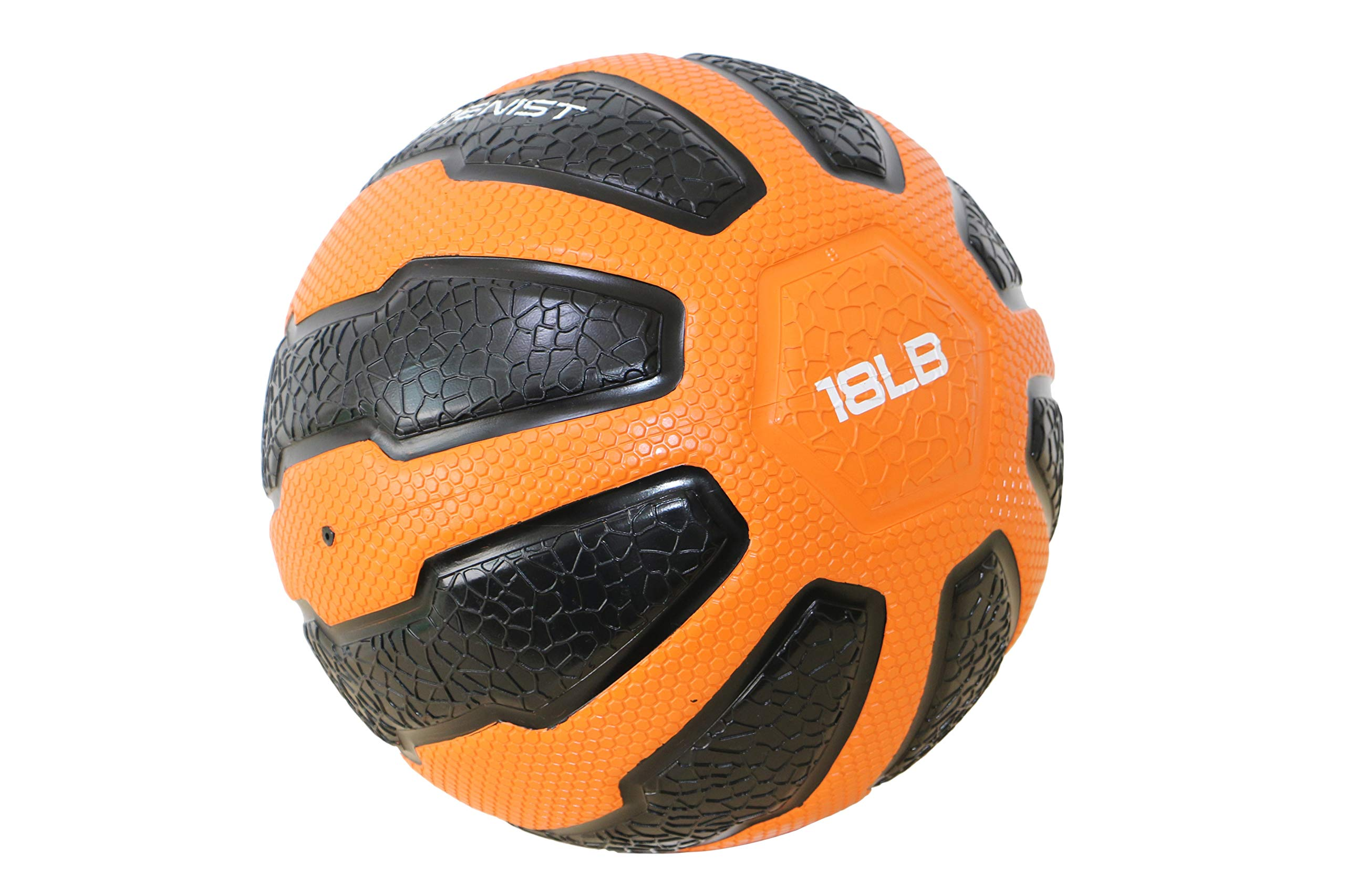 GYMENIST Rubber Medicine Ball with Textured Grip, Available in 9 Sizes, 2-20 LB, Weighted Fitness Balls,Improves Balance and Flexibility - Great for Gym, Workouts, (18 LB (Orange-Black))