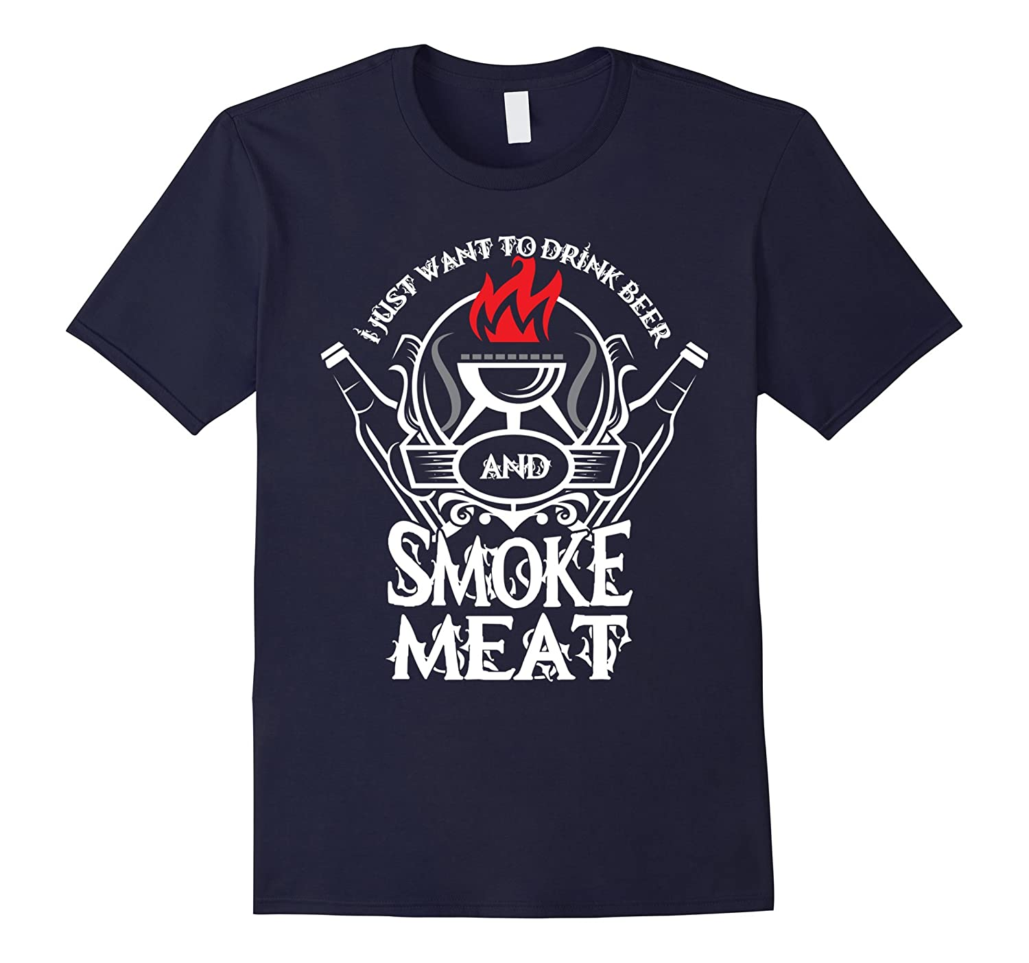 Drink Beer & Smoke Meat T Shirt, Women's Beer Smoke Meat Tee-CL