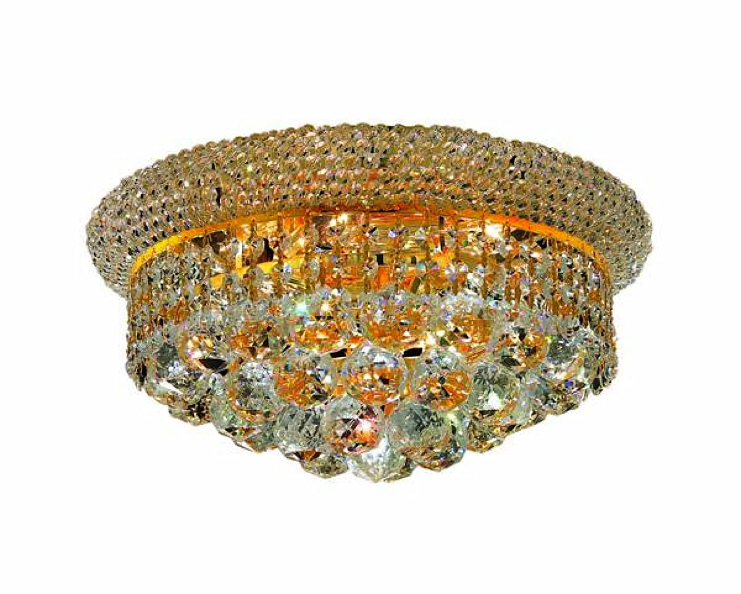 Elegant Lighting 1800f14g Rc Primo 8 Inch High 6 Light Flush Mount Gold Finish With Crystal Clear Royal Cut Chandeliers Com