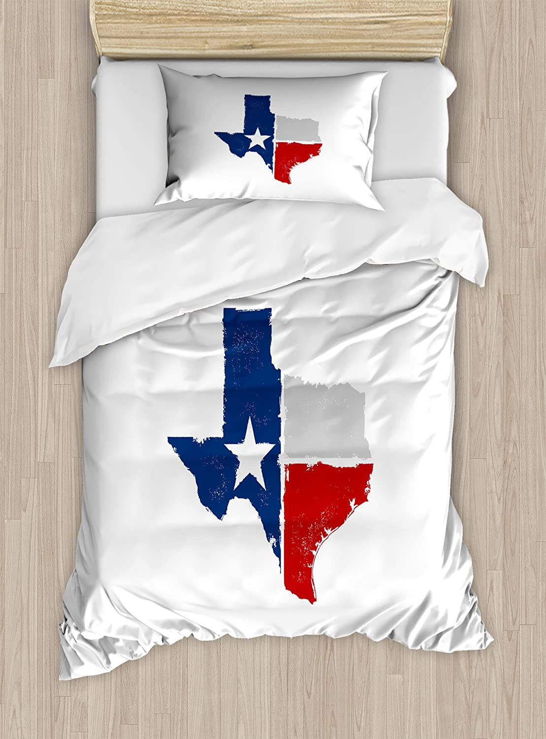 Lunarable Texas Duvet Cover Set Distressed State Outlines Fort Worth Austin Borders Flag Design The Lone Star Decorative 2 Piece Bedding Set With 1 Pillow Sham Twin Size Dark Blue Red Grey Home Kitchen