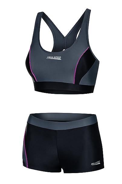 cb38b8803dff Aqua Speed® Fiona Tankini | Tessuto Vita | Resistente al Cloro/Crema  Solare/Olio, Taglia:36, Colore:139 / Black Gray Pink: Amazon.it: Elettronica