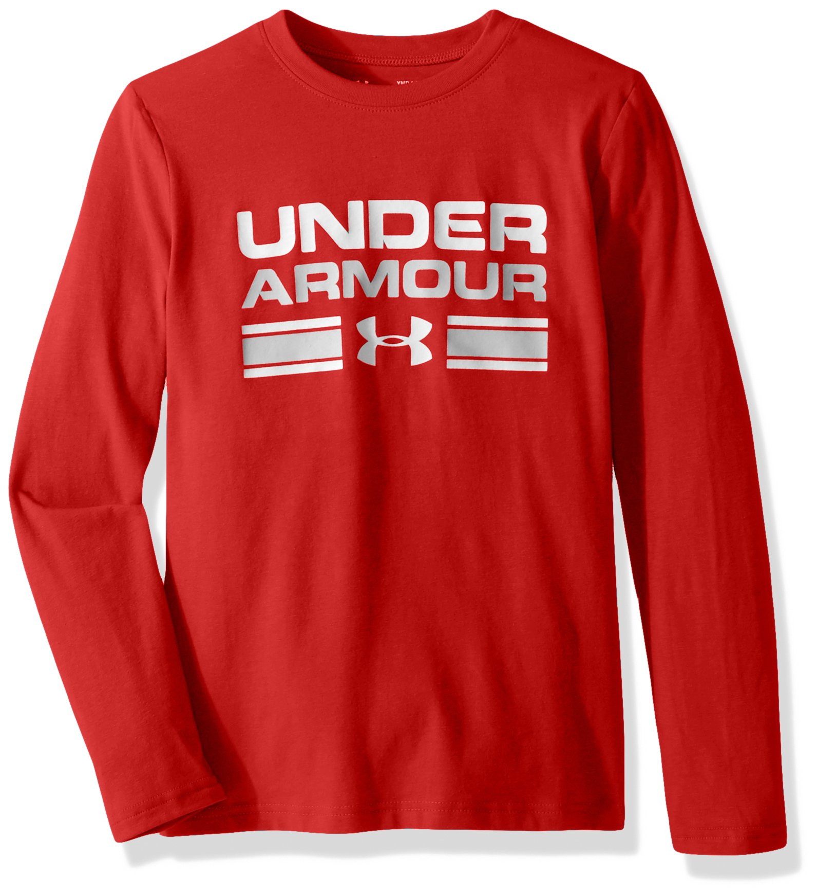 Boy's Under Armour Boys' Crossbar Logo Long sleeve T-Shirt,Red /White, Youth X-Small