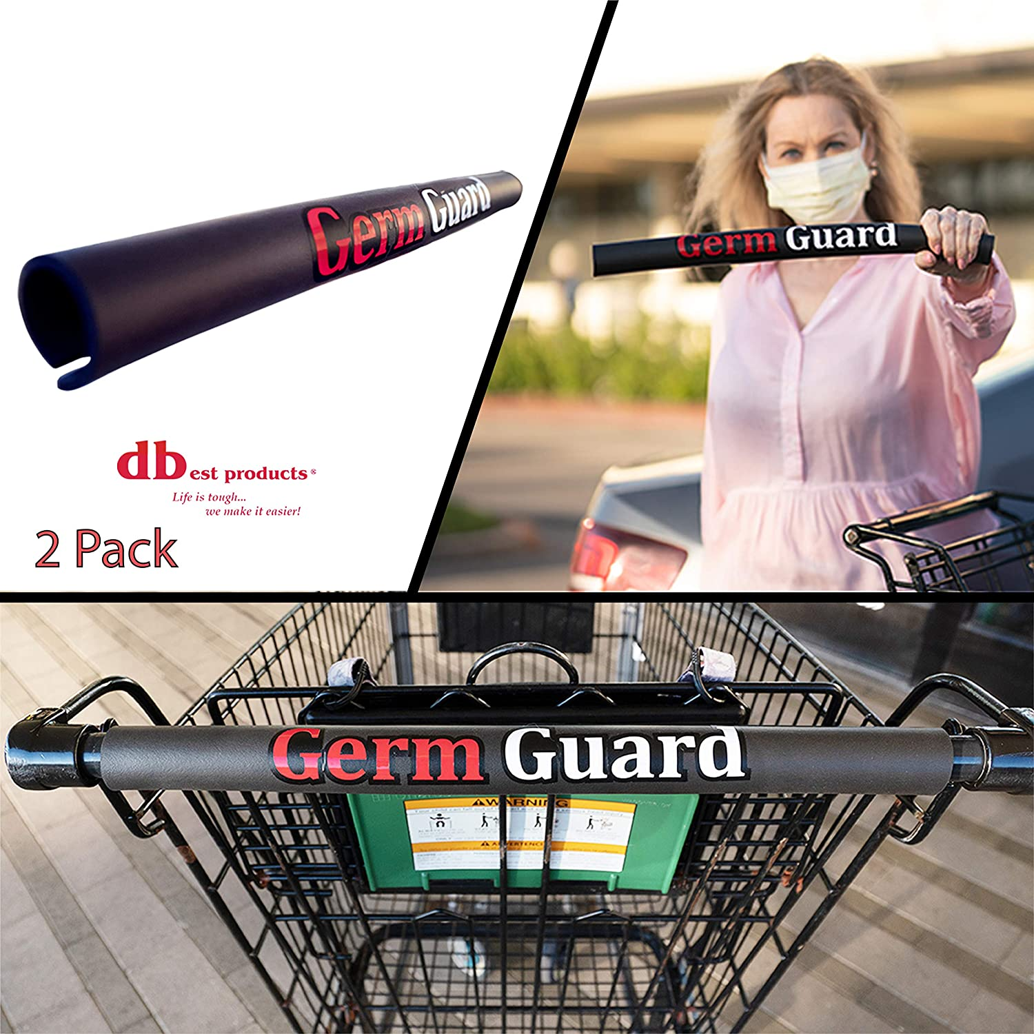 dbest products Germ Guard 10 Pack Black Contactless Supermarket Shopping Cart Handle Cover Protection Prevents The Spread Glove Alternative PPE