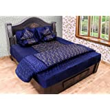 ooltah chashma Gold printed Satin Double Bedding (Blue) Set of 8 Pieces