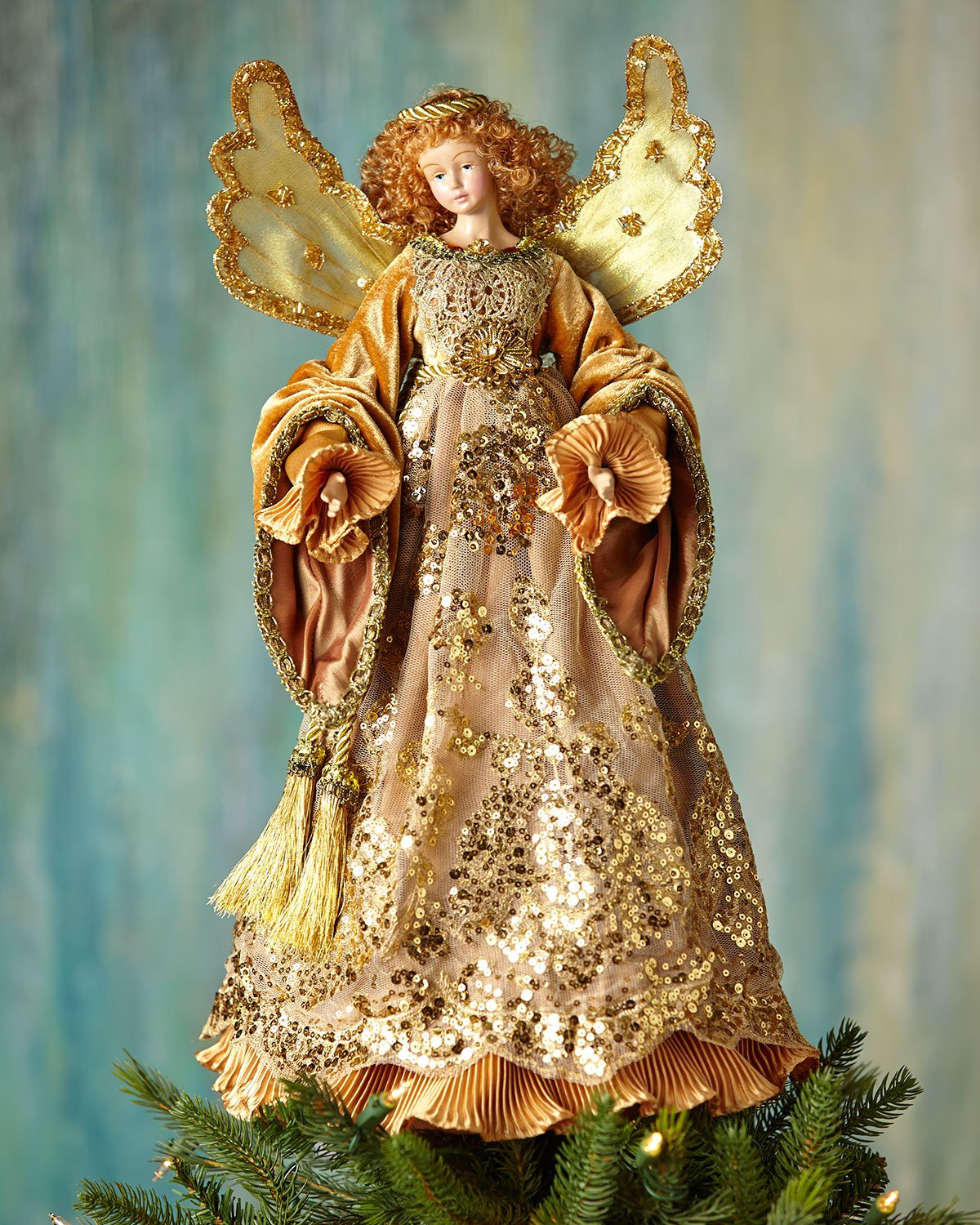 Golden Angel Christmas Tree Topper, GOLD