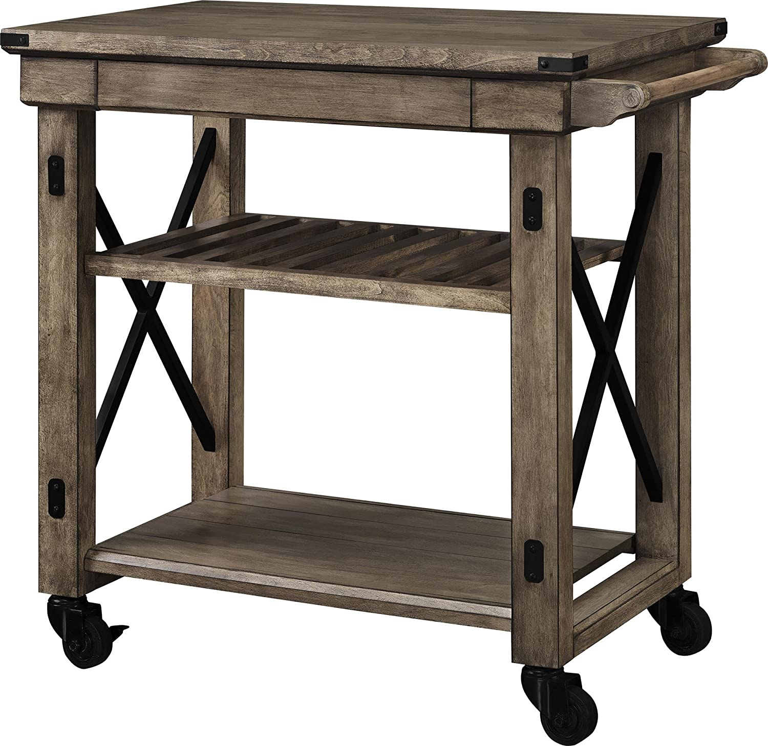 Amazon com ameriwood home wildwood wood veneer multi purpose rolling cart rustic gray kitchen dining