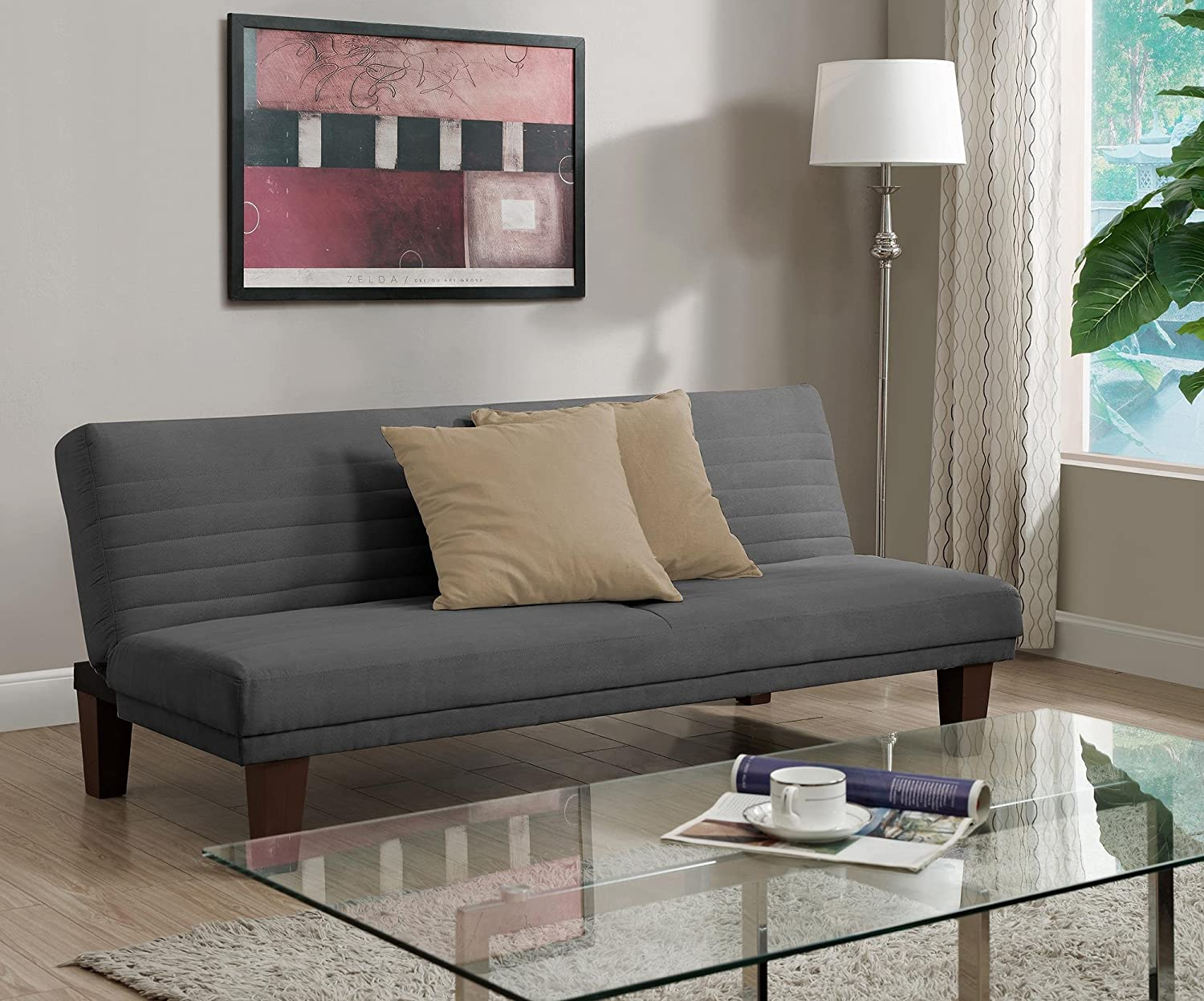 Dhp Dillan Convertible Futon Couch Bed With Microfiber Upholstery And Wood Legs   Grey by Dhp