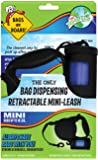 Bags on Board Retractable Dog Leash with Built-in Bag Dispenser, Mini, Black, 45 Bags