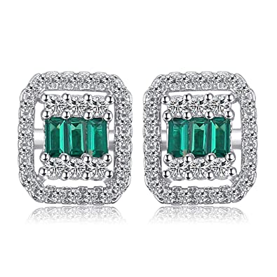 JewelryPalace Elegant 0.9ct Nano Russian Simulated Emerald Drop Earrings 925 Sterling Silver v8ZjofGlF