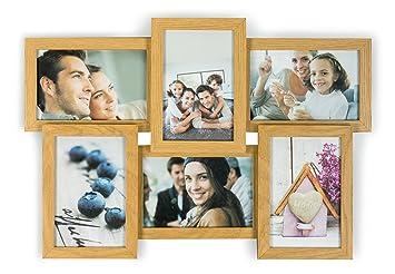 levandeo holz bilderrahmen farbe eiche natur braun hochwertig verarbeitet fr 6 fotos 10x15cm mit glasscheiben