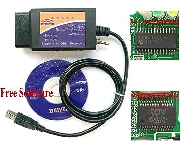 OTKEFDI ELM 327 USB,Forscan ELMConfig Modified OBD Scanner Reader