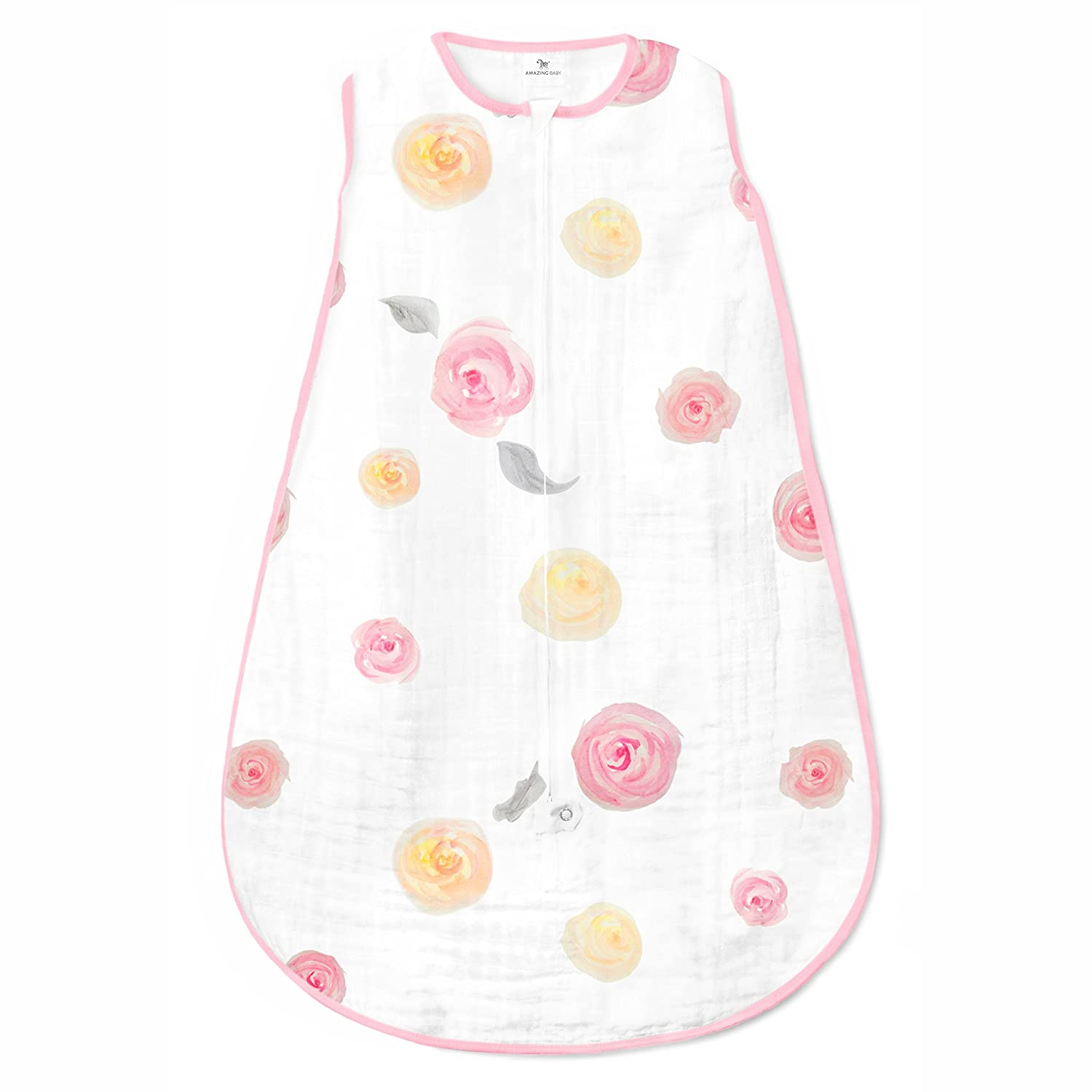 Amazing Baby Muslin Sleeping Sack with 2-Way Zipper, Watercolor Roses, Pink, Small
