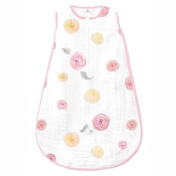 Amazing Baby Muslin Sleeping Sack, Watercolor Roses, Pink, Medium, Wearable Blanket with 2-way Zipper