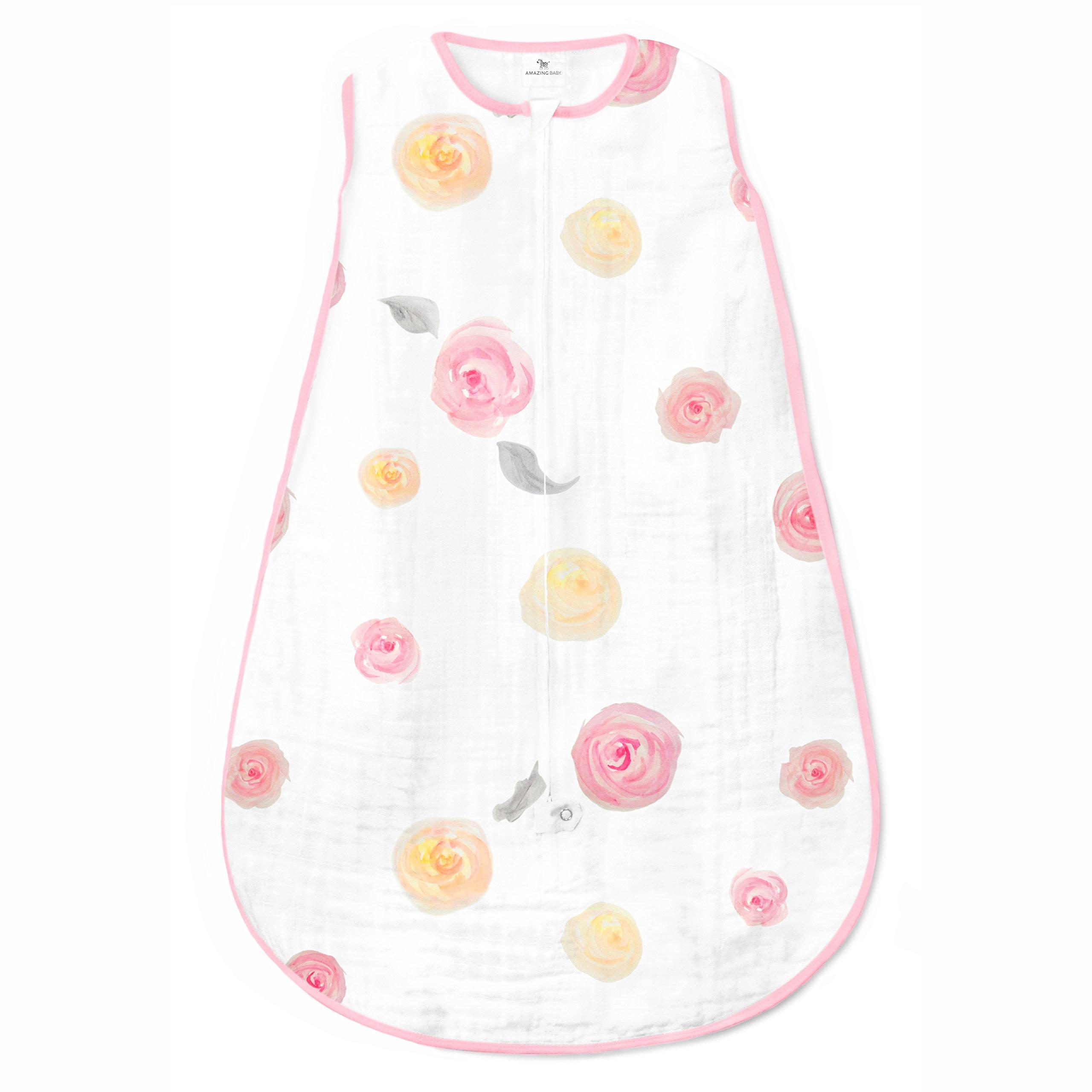 Amazing Baby Muslin Sleeping Sack with 2-Way Zipper, Watercolor Roses, Pink, Medium