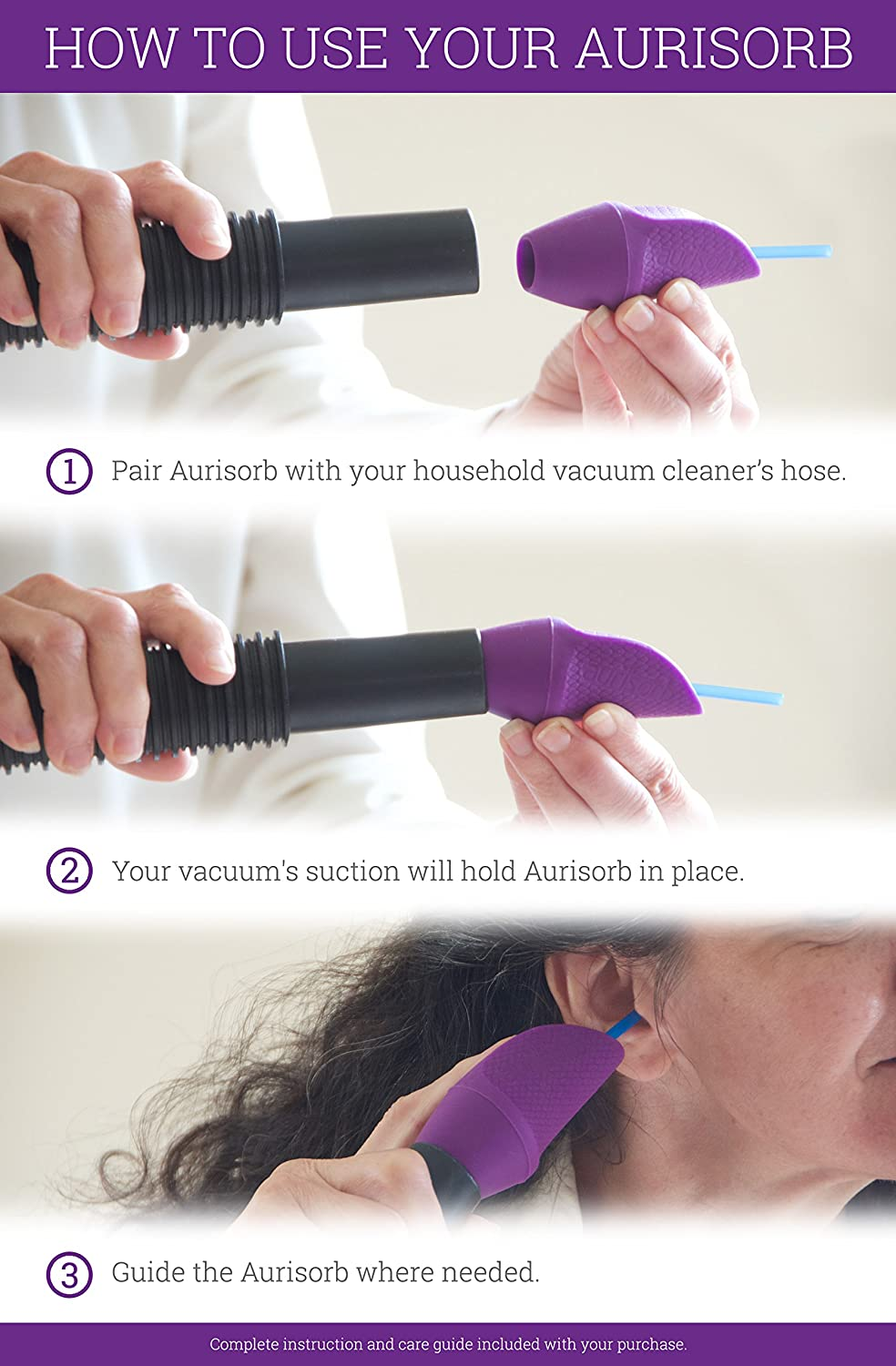 Aurisorb Ⓡ - Ear Cleaner and Wax Remover - Gentle, Effective Earwax Removal  Kit to Extract Thick