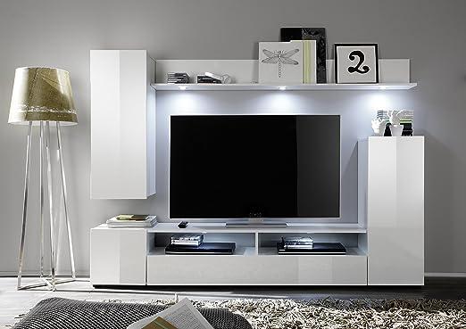 Soggiorno moderno Teseo, composizione mobile porta tv con led, parete di design: Amazon.es: Hogar