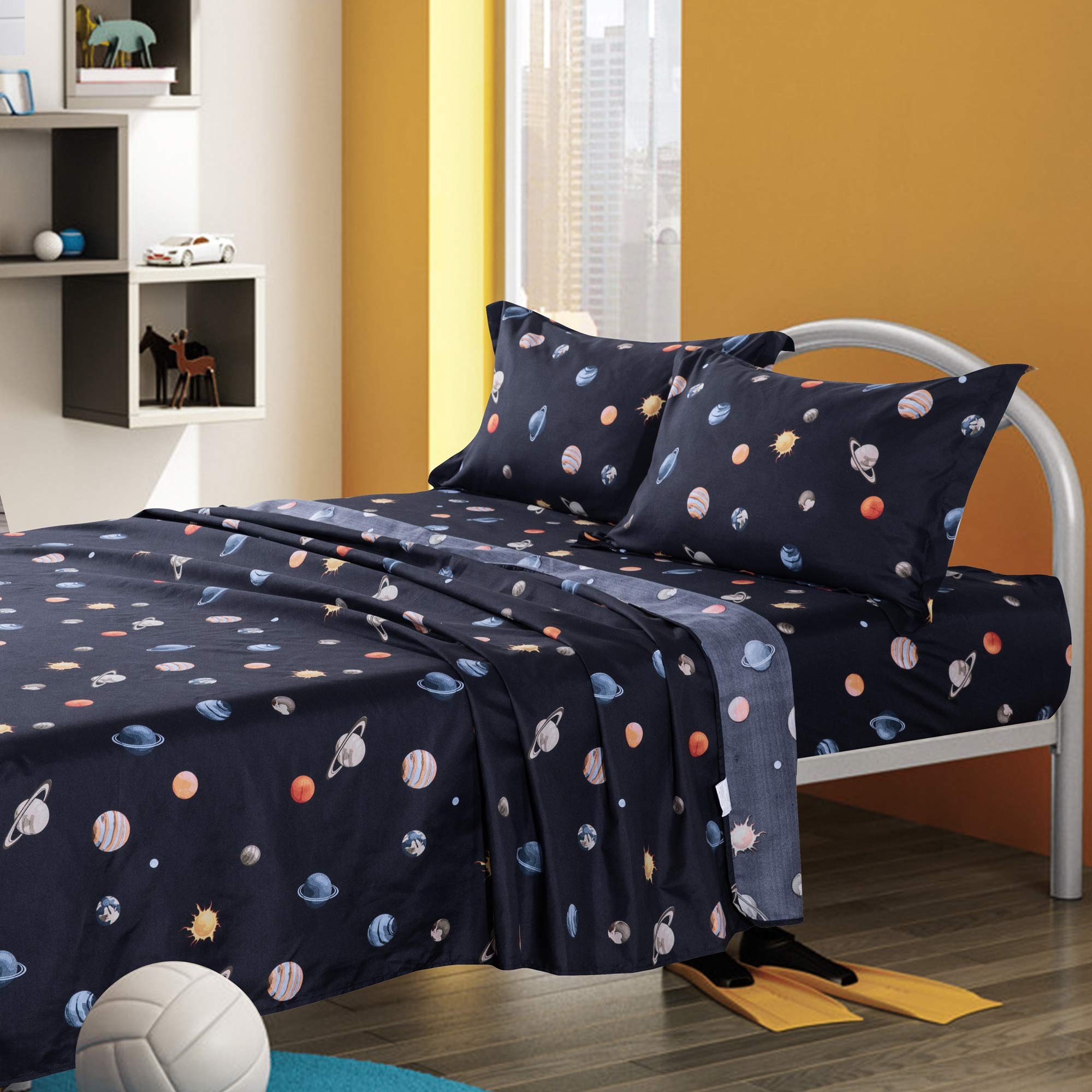KFZ Queen Sheets Set -Navy Blue, Solar System Planets Printed 4 Pieces Bedding with 1 Fitted Sheet, 1 Flat Sheet, 2 Pillowcases - Soft Egyptian Quality Brushed Microfiber Bed Set for Boys and Girls by KFZ