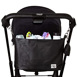 Stylish Stroller Organizer with Cup Holders and Detachable Pacifier Holder Case- Extra Storage Stroller Caddy Holds Mother's Care Products- Black Crocodile