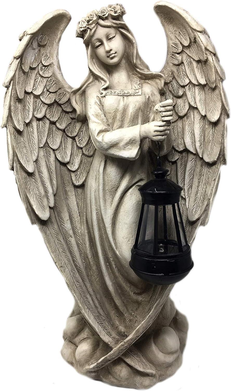 Beige Unbekannt Engel stehend mit Solarlaterne Frostfest 49,00 cm H/öhe ca