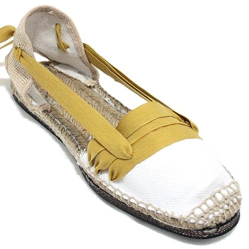 Espardenya.cat Alpargatas Tradicionales Planas Suela de Goma Diseño Tres Vetas o Tabernero Color Mostaza: Amazon.es: Zapatos y complementos
