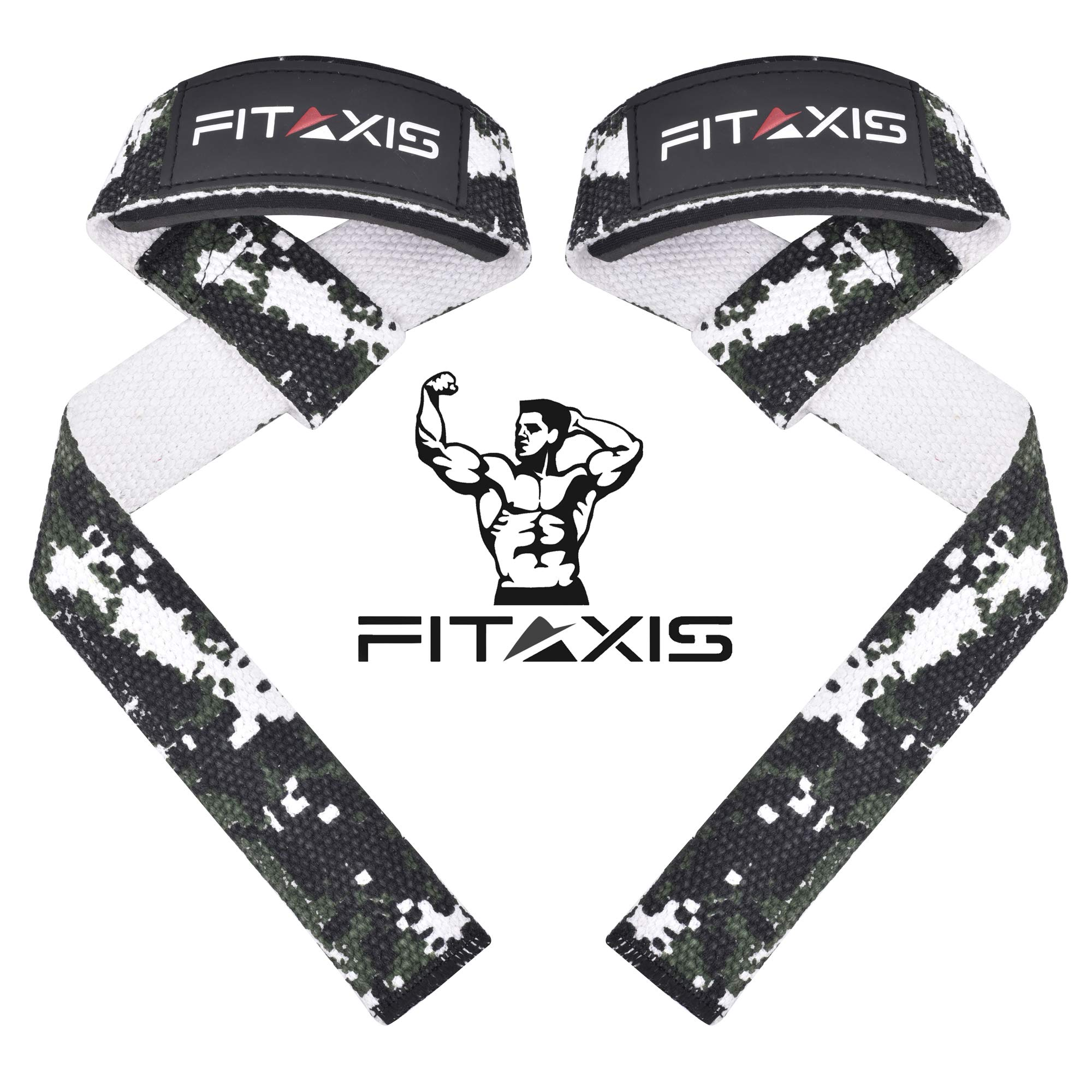 "FITAXIS Weight Lifting Straps 22"" Digital Camo Green,Non-Slip Gel Grip,Wrist & forearms for Heavy Deadlift,Rows,Shrugs,Dumbbell,Squats,Pull-Up (DIGI CAMO Green, 22"