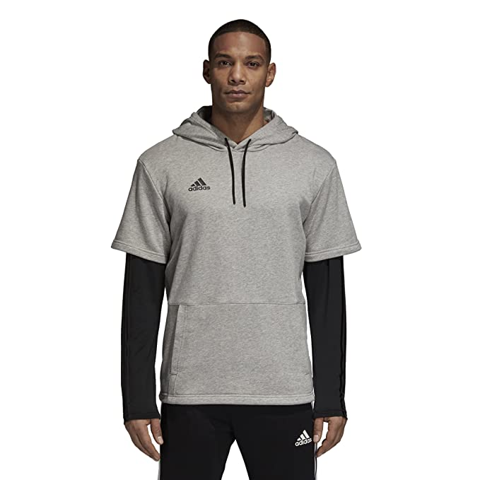 8f84e52d4 Amazon.com: adidas Mens Tango Layered Hoodie (XX-Large, Grey/Black ...