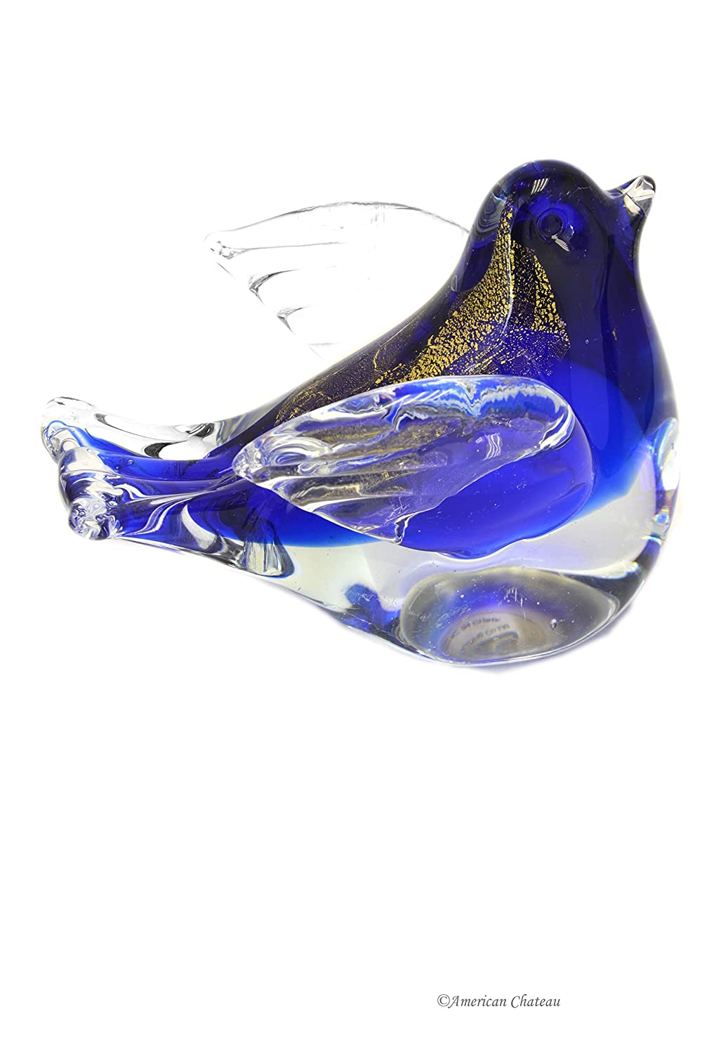 Sommerso Cobalt Blue & Gold Leaf Art Glass Hand Blown Bird Figurine Paperweight American Chateau