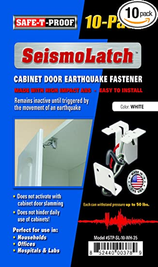 New SeismoLatch Earthquake Activated Cabinet Latch (White-10 Pack ...