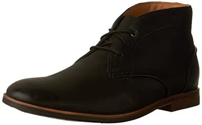 CLARKS Men's Broyd Mid Chukka Boot, Black Leather, 10 D-Medium