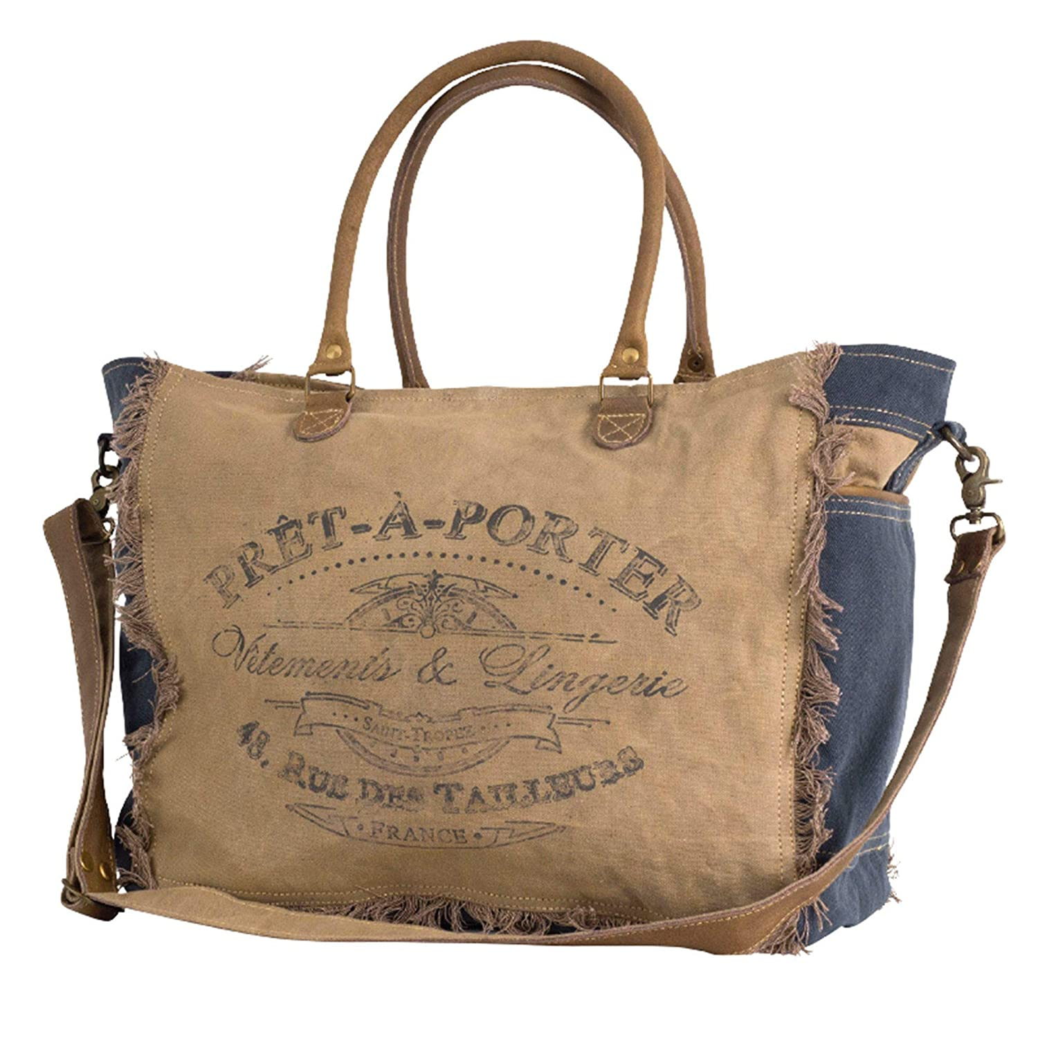 French Pret-A-PorterReady To Wear Canvas Weekender//Duffel Bag by Clea Ray