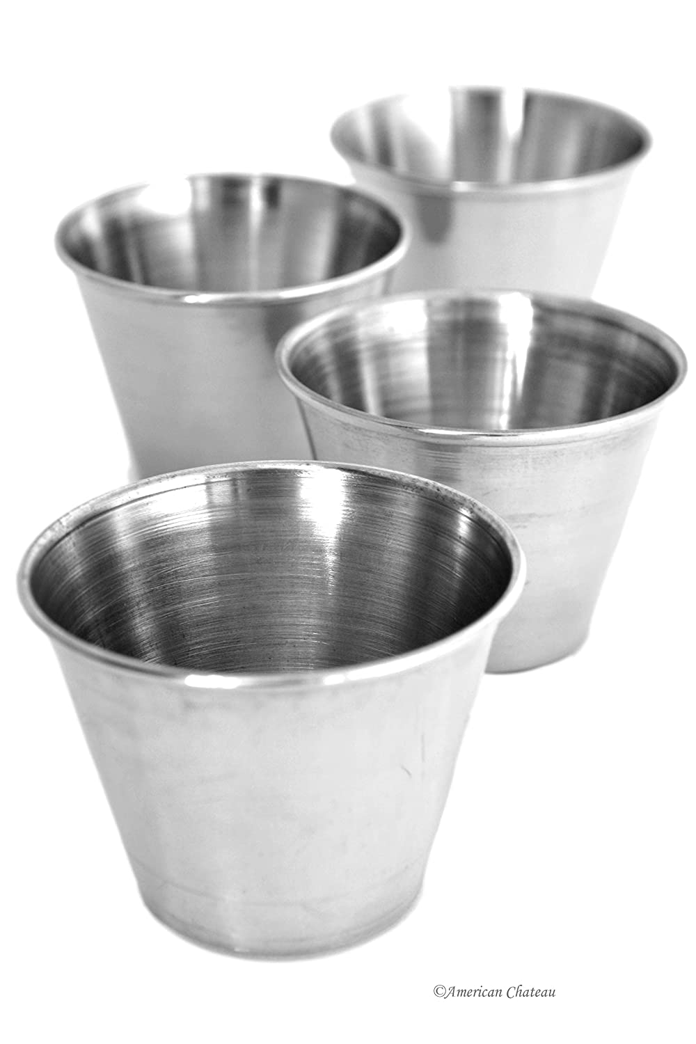 Set of 4 Restaurant-Style Stainless Steel Individual Garnish Sauce Dipping Bowls American Chateau