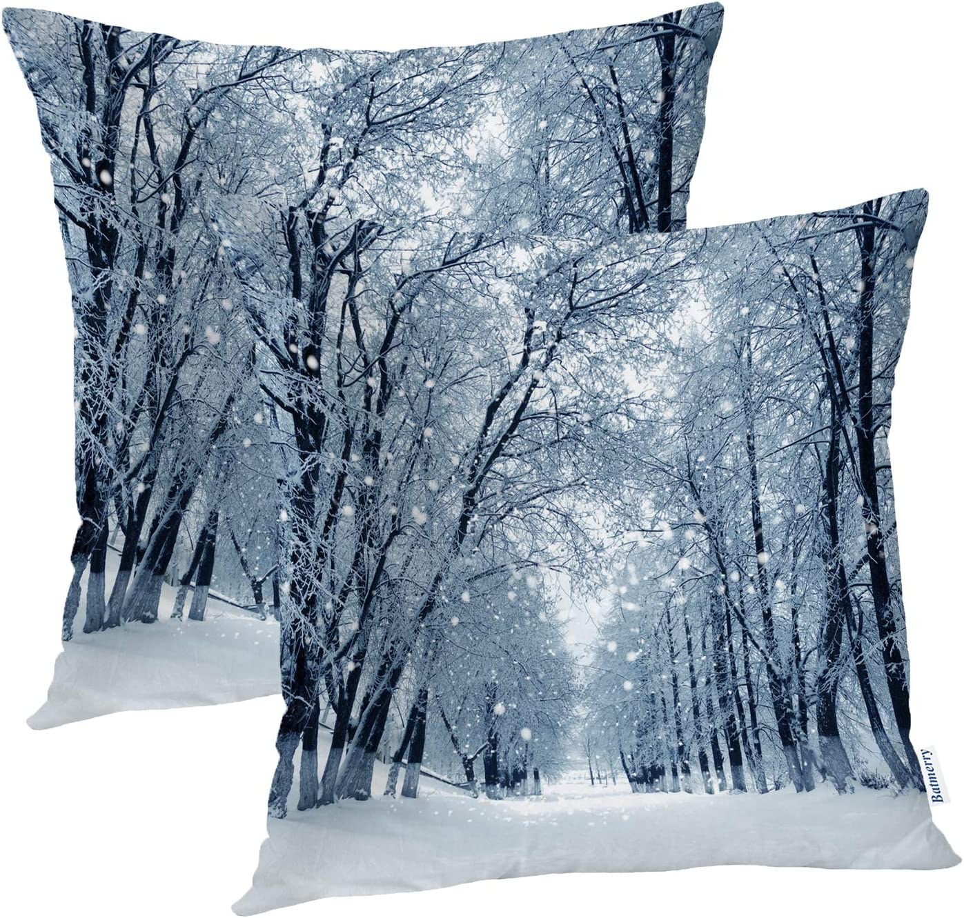 Amazon Com Batmerry Winter Pillow Covers 18x18 Inch Set Of 2 Blue Snow Snowstorm In Park Winter Landscape Scene Double Sided Decorative Pillows Cases Throw Pillows Covers Home Kitchen