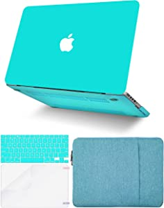 "KECC Laptop Case for MacBook Air 13"" w/Keyboard Cover + Sleeve + Screen Protector (4 in 1 Bundle) Plastic Hard Shell Case A1466/A1369 (Matte Tiffany Blue)"