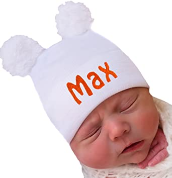 8cb6e4d95e3b7 Image Unavailable. Image not available for. Color  Melondipity Newborn Boy  White Fuzzy Bear Ears Hospital HAT Personalized