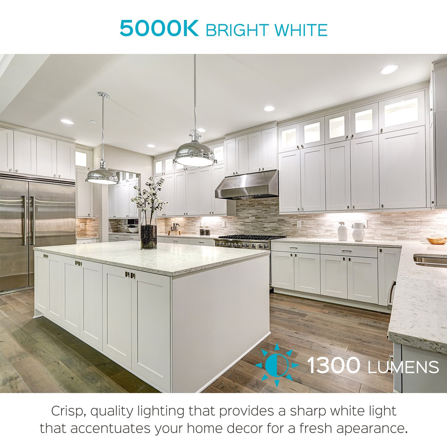 Luxrite 5/6 Inch LED Recessed Light, 15W (120W Equivalent), 5000K Bright White, 1300lm, Dimmable, Retrofit LED Can Light, Energy Star & UL, Damp Rated - Perfect for Kitchen, Bathroom, Office (4 Pack) by Luxrite (Image #4)