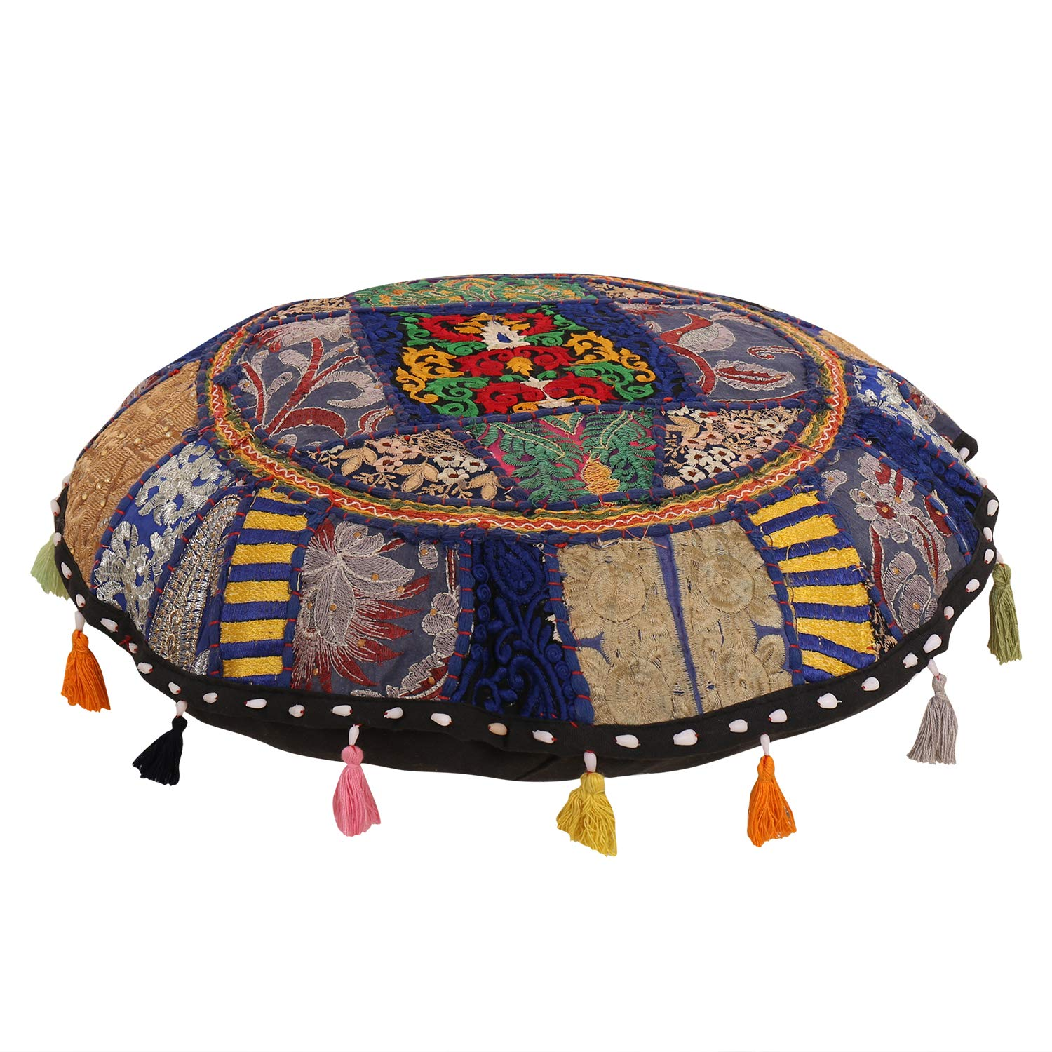 Beautiful Decorative Ruond Ottoman Indian Patchwork Pouffe,Indian Traditional Home Decorative Handmade Cotton Ottoman Patchwork Foot Stool, Embroidered Chair Cover Vintage Pouf 21,Indian Cushion Set Janki Creation