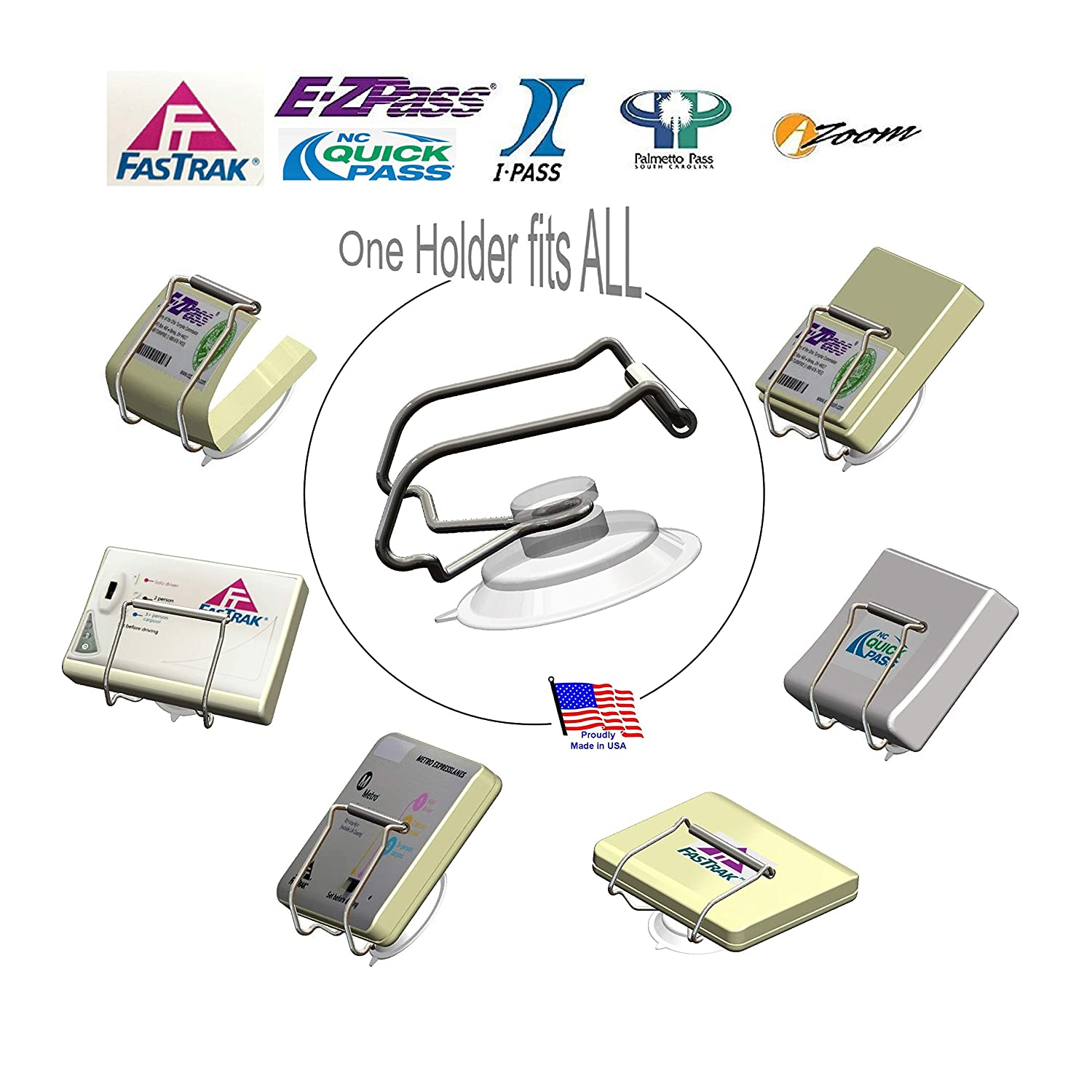 Indestructible holder fits Mini and OLD size EZ Pass Holder only I Pass I Zoom Made in USA not the Flex JL Safety EZ Pass-Port EZP300 PalPass hard case and FasTrak transponders