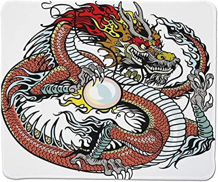 Yanteng Gaming Mouse Pad Dragon, una Criatura Tradicional China Que sostiene una Perla Grande Signos del Zodiaco Folk Tatuaje gráfico Decorativo, ...