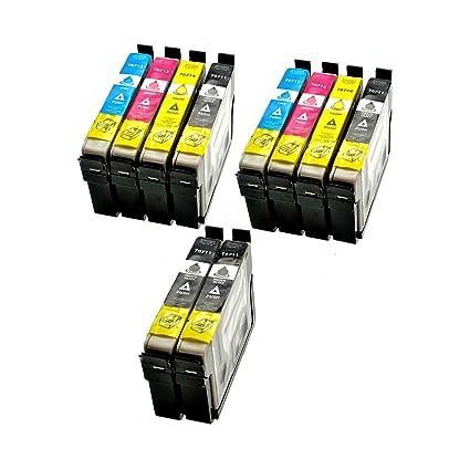 10 x Cartuchos de Tinta (Impresora Cartuchos) Epson D78 con chip y indicador, compatible con Epson 4 x Negro T0711 2 x cian T0712, 2 x magenta T0713 2 ...