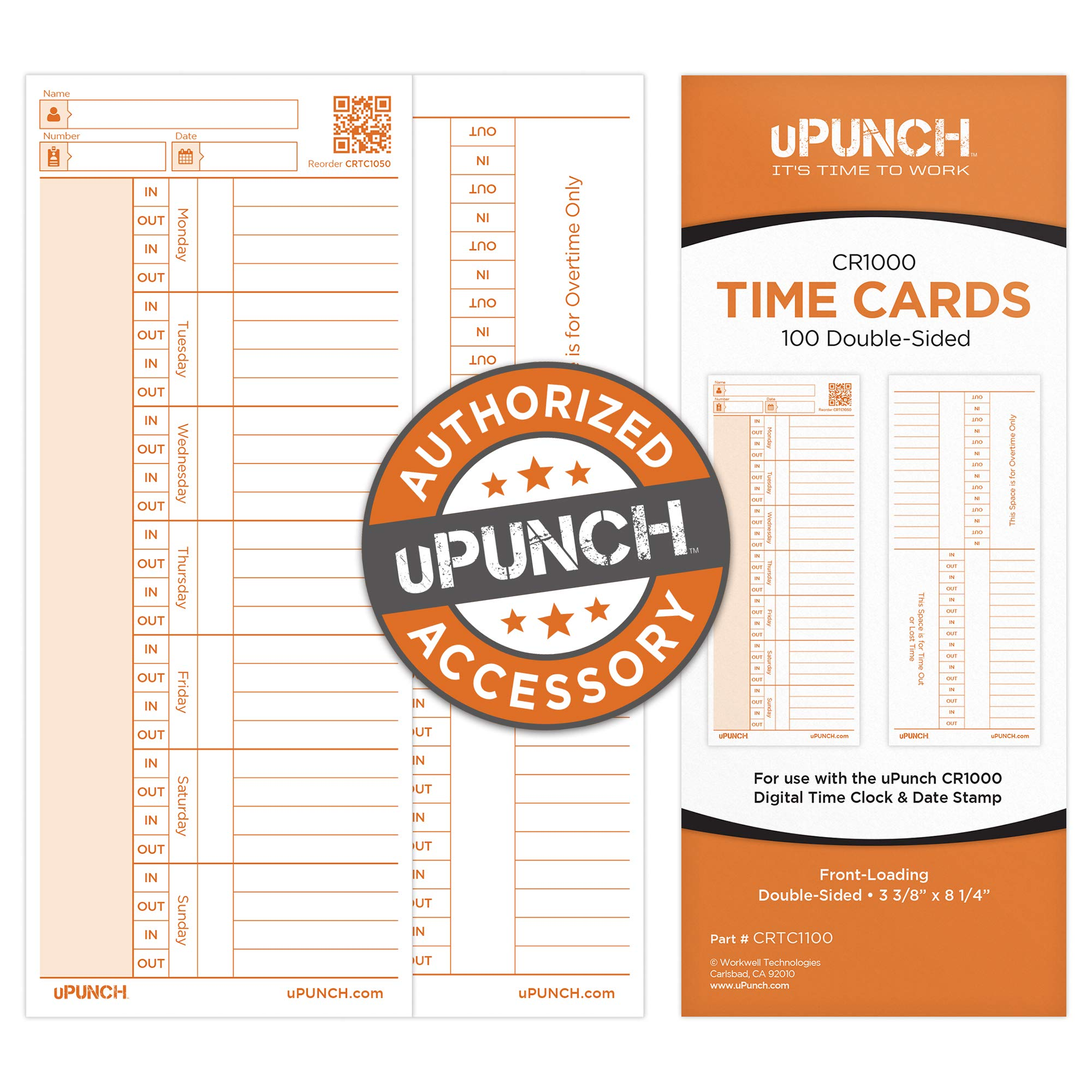 100 uPunch Time Cards for CR1000 Digital Time Clock & Date Stamp by uPunch