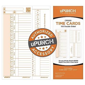 Amazon.com: 100 uPunch tarjetas de hora para reloj digital ...