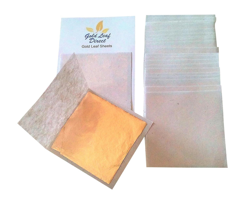 20 SHEETS x 24k Gold Leaf on base 100/% Genuine