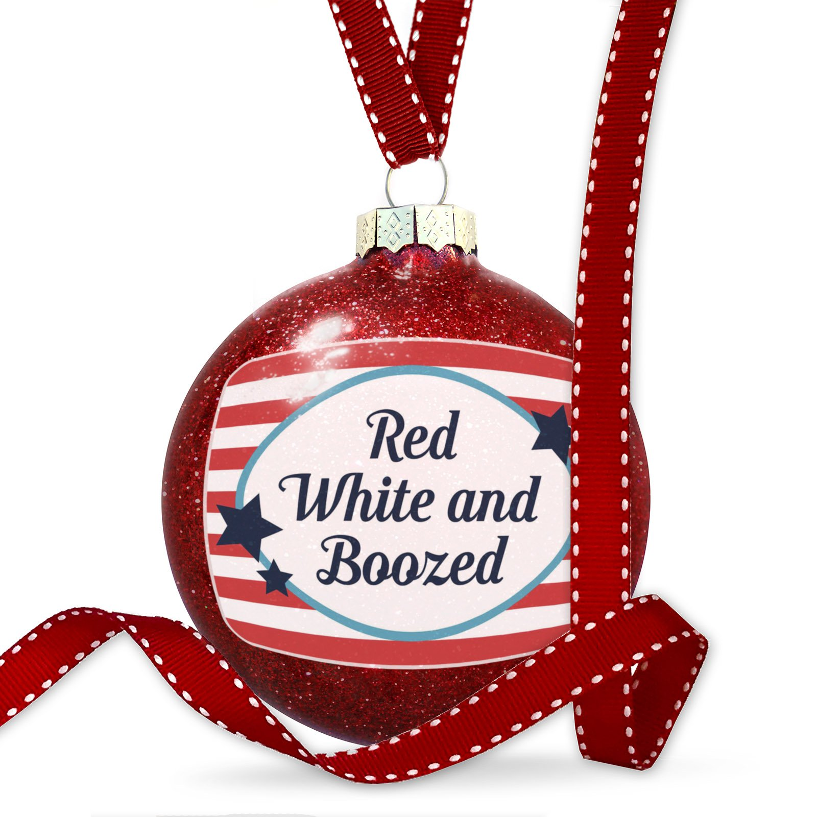 Christmas Decoration Red White and Boozed Fourth of July America Stars and Stripes Ornament