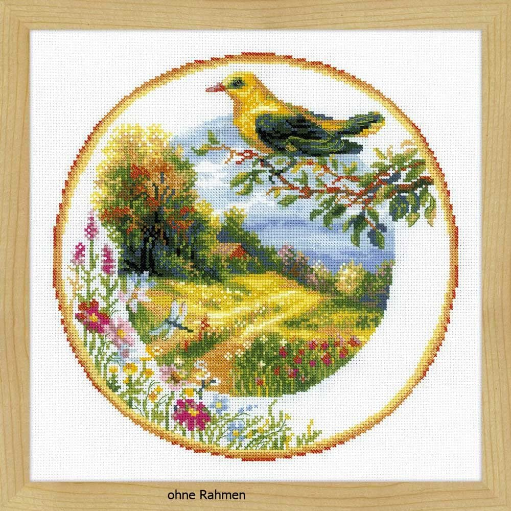 Choice RIOLIS 1693 - Plate with Oriole Stitch Kit 11¾ Reservation Cross Counted