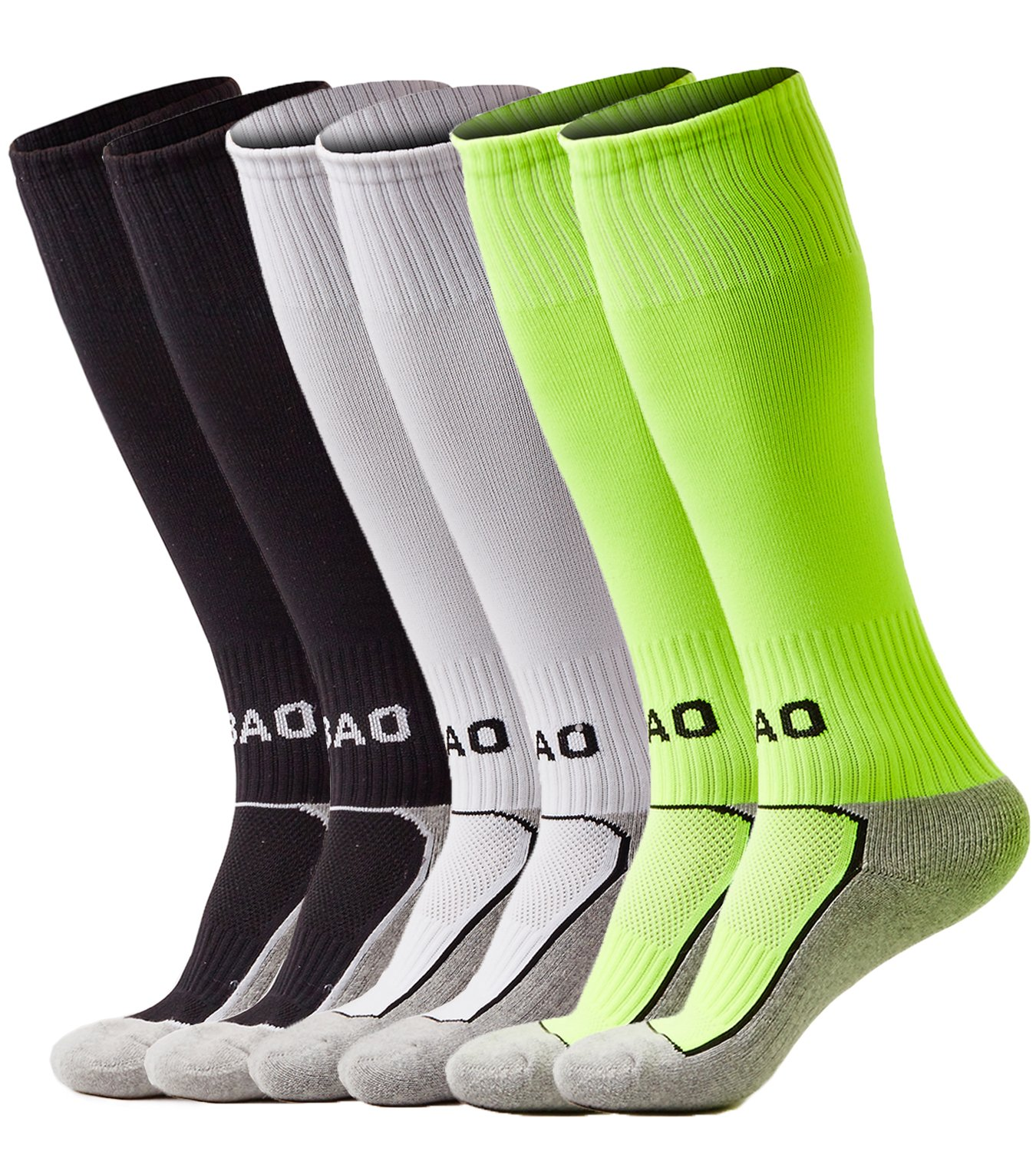 laventoボーイズ/ガールズクッションover the calf Soccer Socks B07BGV3PV8 M (Youth's shoes size 2Y-6)|3 Pack-Black/White/Neon green 3 Pack-Black/White/Neon green M (Youth's shoes size 2Y-6)