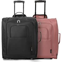 5 Cities easyJet, British Airways, Jet2 Maximum Cabin Approved Trolley Bag Hand Luggage, 56 cm, 60 L, Black