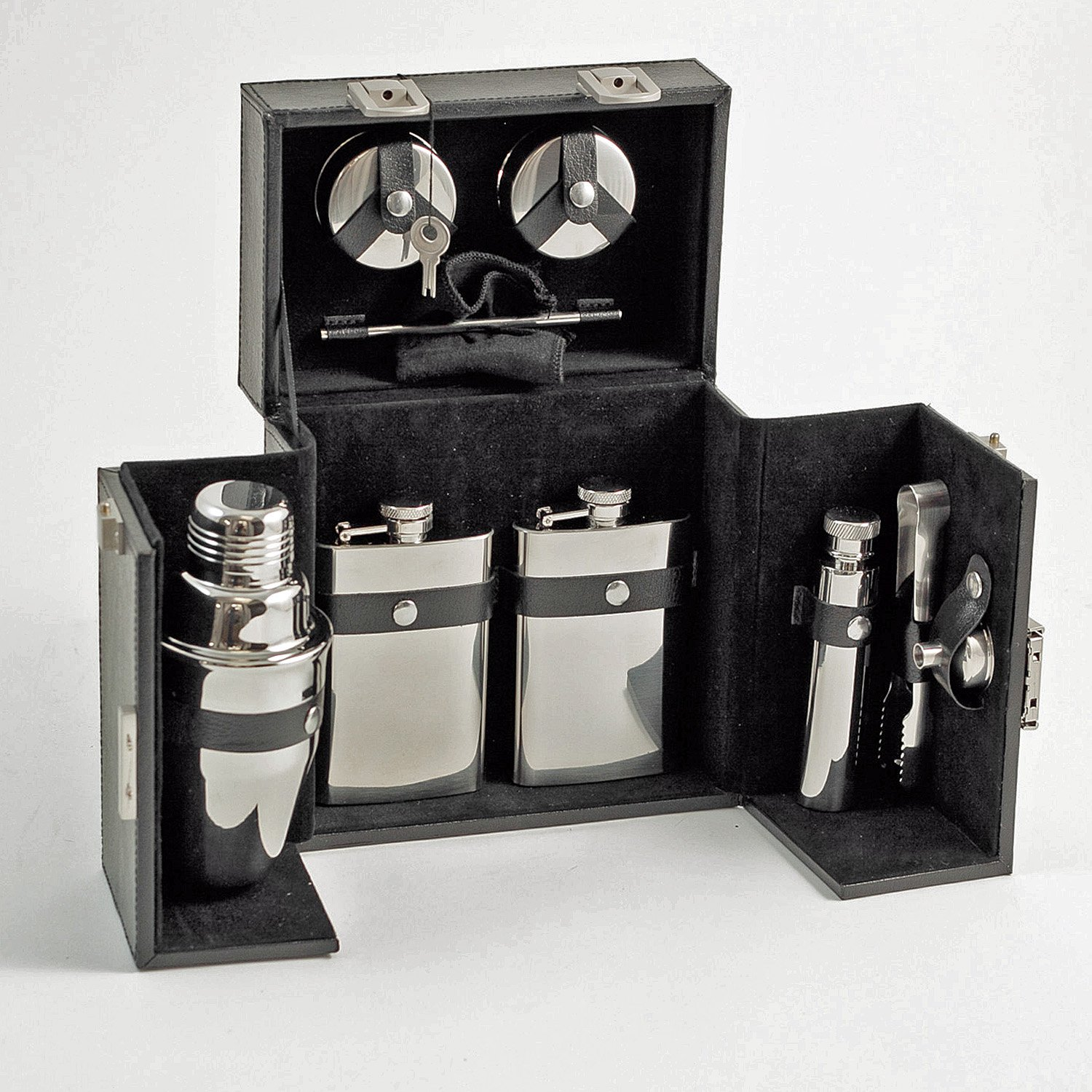 Travel Bar Set - 10-pc Stainless Steel Travel Bar Set in Black Leather Case